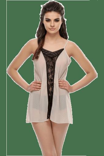 37245fdeaf1d Buy CLOVIA Romantic Beige Short Nightdress With Black Lace ...