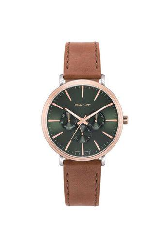 Mens Green Dial Leather Multi-Function Watch - GTAD05600499I