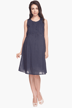 NINE MATERNITY Womens Comfort Fit Dotted Dress