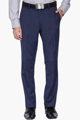 WILLS LIFESTYLE Mens 4 Pocket Solid Formal Trousers