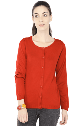 EXCLUSIVE LINES FROM BRANDS Women Solid Round Neck Cardigan - 200154388
