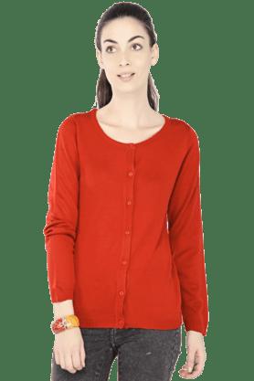 EXCLUSIVE LINES FROM BRANDSWomen Solid Round Neck Cardigan - 200154388