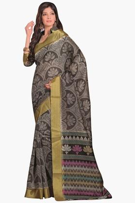 DEMARCAWomens Printed Gold Woven Saree