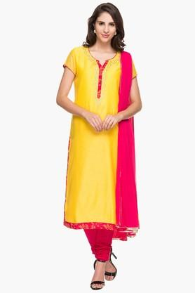 Womens Notched Neck Solid Kurta and Churidar Set