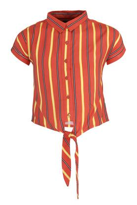 Girls Striped Casual Tie Up Shirt