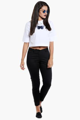 Women Collared Solid Embroidered Crop Top