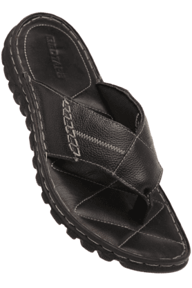 RED TAPE Mens Black Leather Sandal - 9566559
