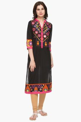 RS BY ROCKY STAR Womens Mandarin Neck Printed Kurta - 201986175