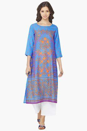 GLOBAL DESI Womens Round Neck Printed Kurta - 202412134