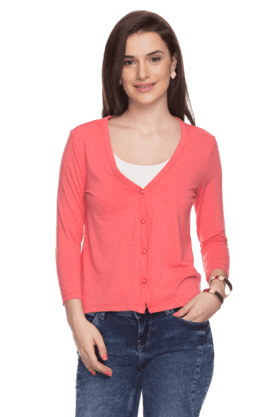 FEMINA FLAUNT Womens Cropped Sleeves Cardigan
