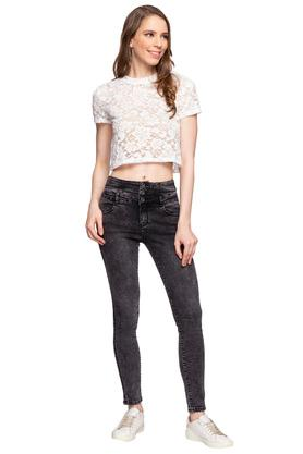 Womens High Neck Lace Top