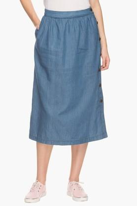 MSTAKEN Womens Slub Midi Skirt (Shop For Rs.2500 And Get Rs.500/- Off)