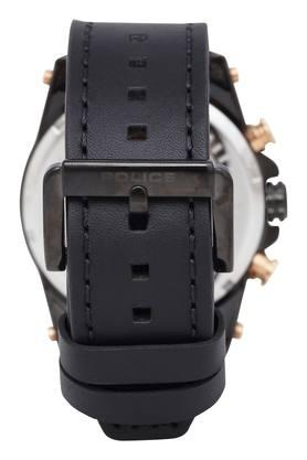 Mens Black Dial Multi-Function Leather Watch - PL15389JBB02W