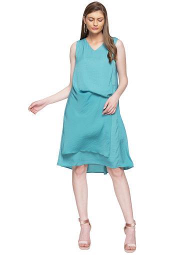 Womens V Neck Slub Layered Skater Dress