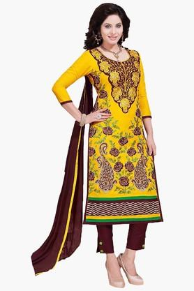ISHIN Womens Embroidered Unstitched Dress Material - 201832742