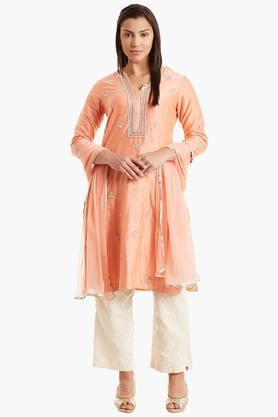BIBA Womens Straight Cotton Silk Suit Set