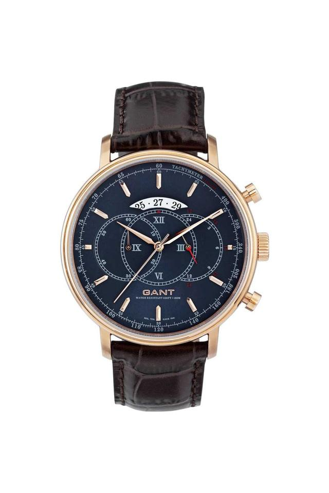 Mens Blue Dial Leather Chronograph Watch - A07260