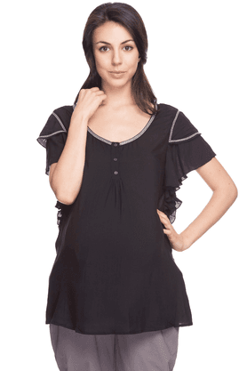 NINE MATERNITY Womens Regular Fit Solid Top