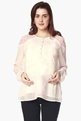 NINE MATERNITY Womens Round Neck Printed Top