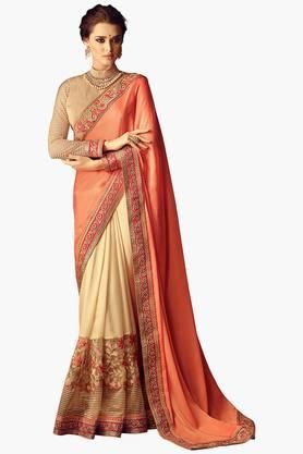 ISHIN Women Twill Georgette Chiffon Embroidered Saree