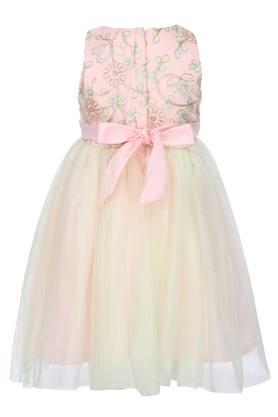 Girls Round Neck Embroidered Lace Layered Dress