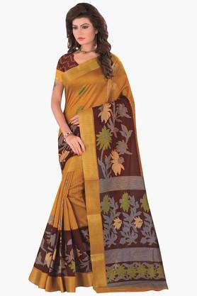 DEMARCA Womens Printed Gold Woven Saree - 201811325