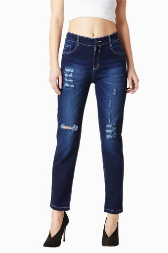 Womens Slim Fit High Rise Distressed Jeans