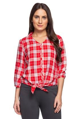 Womens Checked Tie Up Shirt