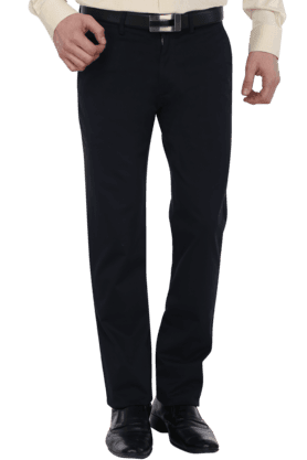 Mens Flat Front 4 Pocket Slim Fit Solid Trousers