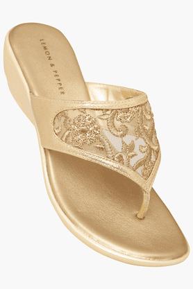 LEMON & PEPPERWomens Party Wear Slipon Fancy Wedge Sandal