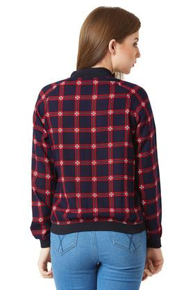 Womens Zip Through Neck Checked Bomber Jacket