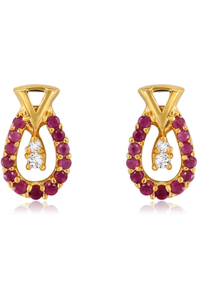 MAHIMahi Gold Plated Bliss Earrings With CZ & Ruby Stones For Women ER1193516G