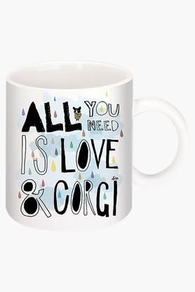 CRUDE AREA Love In Corgi Printed Ceramic Coffee Mug By Natasa