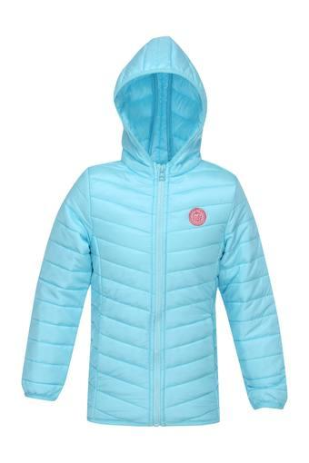 Girls Hooded Neck Solid Quilted Jacket