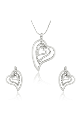 MAHI Mahi Rhodium Plated Three Hearts Pendant Set With White Crystals For Women NL1101768RWhi