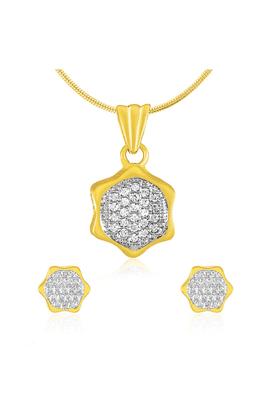 MAHIMahi Gold Plated Hexagonal Geometric Pendant Set With CZ For Women NL1100153G