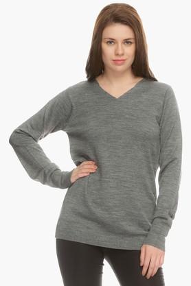 MSTAKENWomens V Neck Slub Sweater