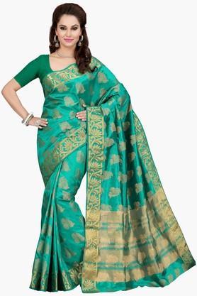 ISHINWomens Golden Weave Poly Silk Saree - 201774608