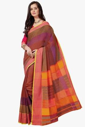 ASHIKA Womens Stripe Cotton Saree - 201754560