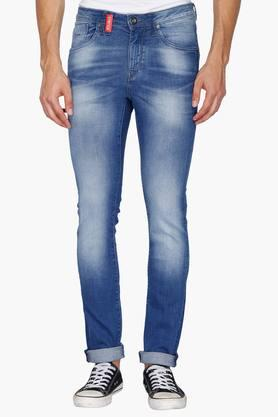 FLYING MACHINE Mens 5 Pocket Skinny Fit Heavy Wash Jeans (Jackson Fit)