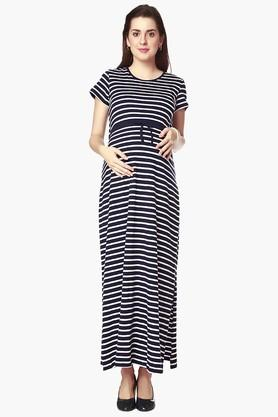 NINE MATERNITY Womens Round Neck Stripe Maxi Dress
