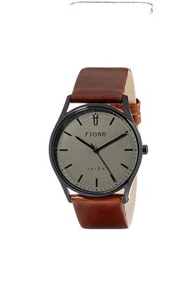 Mens Grey Dial Leather Analogue Watch - 414338