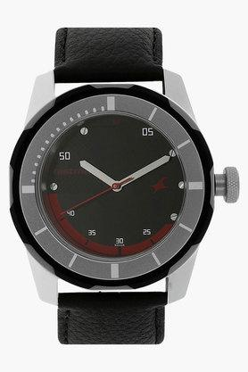 FASTRACK Mens Black Dial Leather Strap Watch