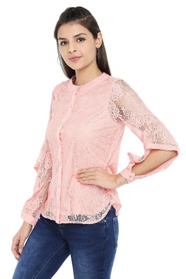 Womens Mandarin Collar Lace Shirt