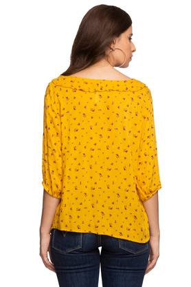 Womens V Neck Printed Ruffled Shirt