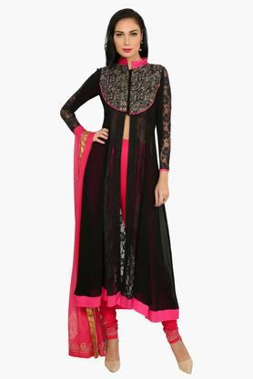 IRA SOLEIL Womens Printed Kurta And Churidar Set With Dupatta (Buy Any Ira Soleil Product And Get A Necklace Free)