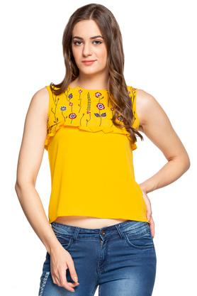 Womens Round Neck Embroidered Ruffled Crop Top
