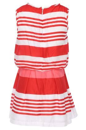 Girls Round Neck Stripe Pleated Dress