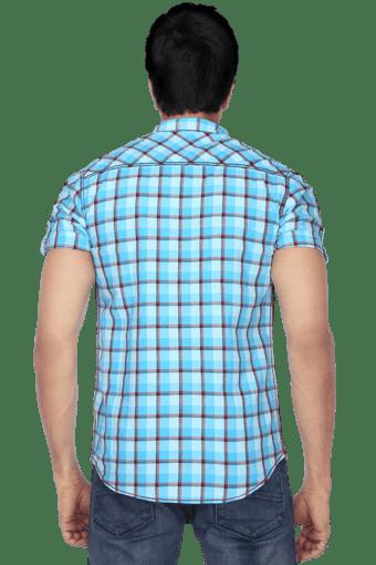 Mens Half Sleeves Slim Fit Casual Check Shirt Shirts