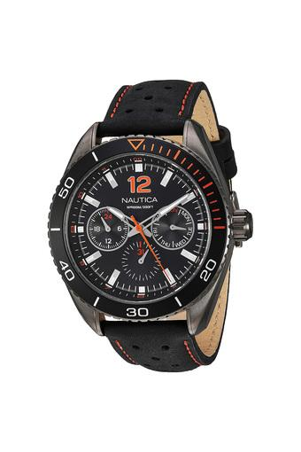 Mens Biscayne Black Dial Leather Multi Function Watch - NAPKBN007